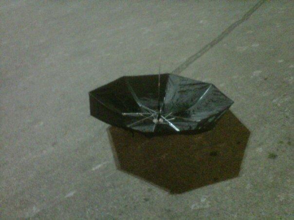 Umbrella in parking lot